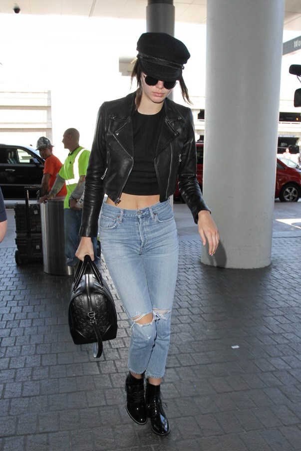 Kendall Jenner loves a good crop top at the airport.