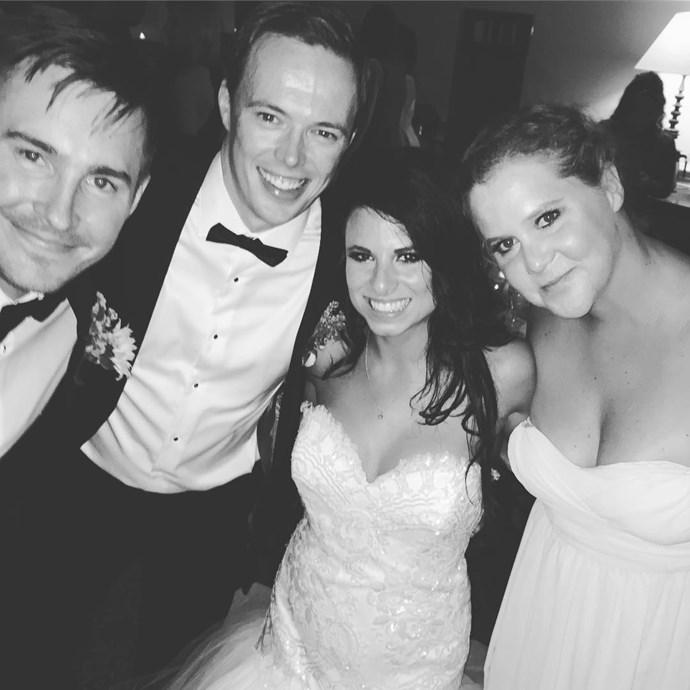 Amy played bridesmaid at her friend Tara's wedding this weekend, alongside her boyfriend Ben.