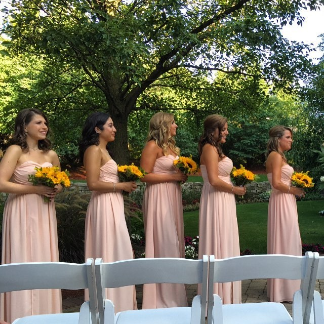 The bridesmaids for the wedding wore this blush pink gowns.