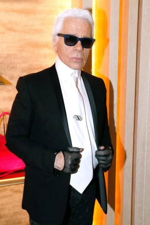 Karl Lagerfeld's motorcycle gloves.