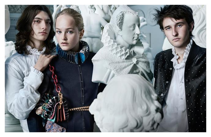 Burberry's September Collection campaign, shot by Mario Testino and starring Jean Campbell, Cavan McCarthy and Alex Dragulele.
