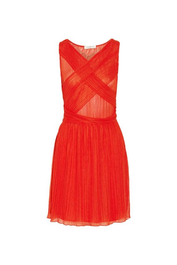 "Dress, $177, <a href=""https://www.theoutnet.com/en-US/product/Sandro/Reno-plisse-gauze-mini-dress/718837"">Sandro at theoutnet.com</a>."