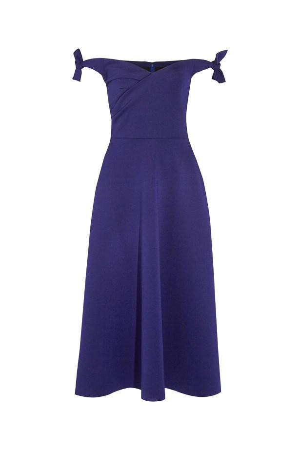 "Dress, $420, <a href=""https://www.net-a-porter.com/au/en/product/728899/saloni/ruth-off-the-shoulder-stretch-neoprene-midi-dress"">Saloni at net-a-porter.com</a>."