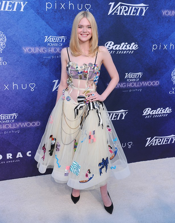 Elle picked this sheer Marc Jacobs corset with a full, embellished skirt for Variety's Power of Young Hollywood event.