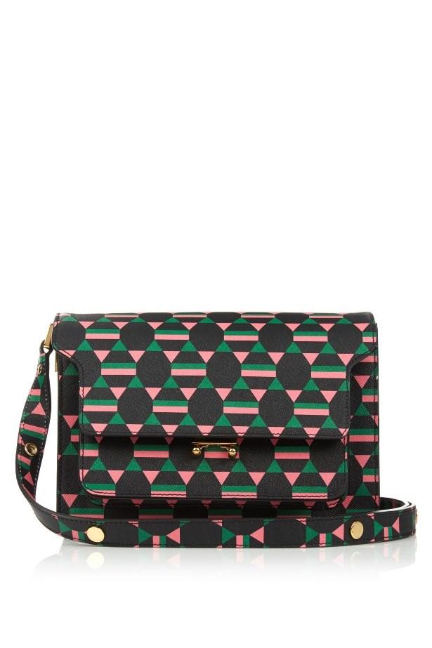 """Bag, $2372, <a href=""""http://www.matchesfashion.com/au/products/Marni-Trunk-medium-geometric-print-leather-shoulder-bag-1051236"""">Marni via matchesfashion.com</a>"""