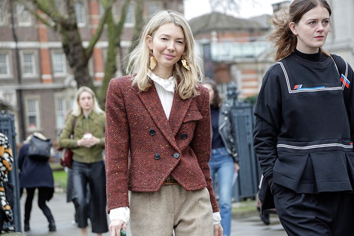 """I love autumn tones, so this double-breasted jacket has my name all over it. The cinched waist and frilled white blouse give the tweed a feminine edge."""