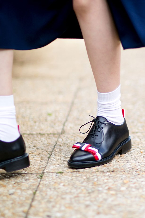 """Nobody does quirky quite like New York-based label Thom Browne- these Oxfords are equal parts cheery and chic."""