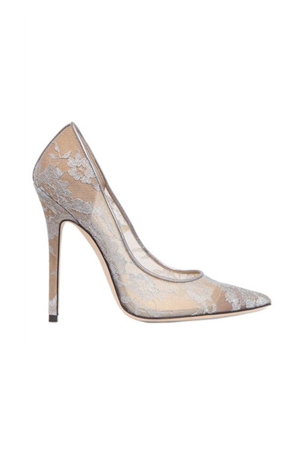 "<P><strong>FOR THE TRADITIONAL BRIDE</strong><P> <P> Pumps, $1,002, <a href=""http://www.luisaviaroma.com/jimmy+choo/women/pumps/64I-D0Z014/lang_EN/colorid_U0lMVkVS0?SubLine=shoes&CategoryId=95"">Jimmy Choo via luisaviaroma.com</a>."