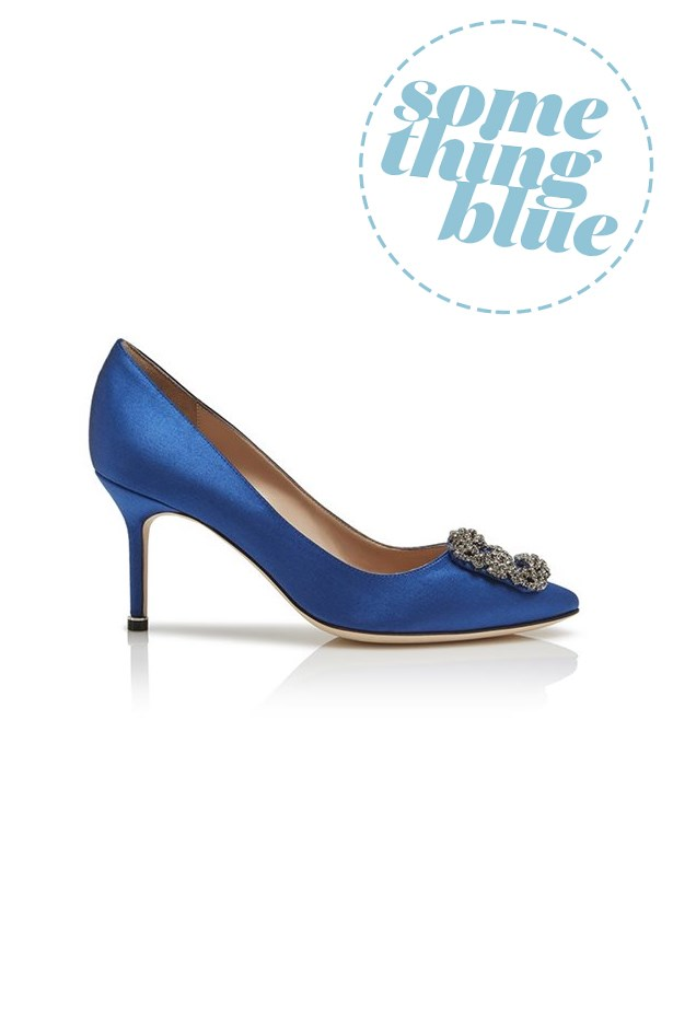 "<P><strong>FOR THE TRADITIONAL BRIDE</strong><P> <P> Pumps, $1,260, <a href=""https://www.manoloblahnik.com/au/products/hangisi-11552912"">Manolo Blahnik</a>."