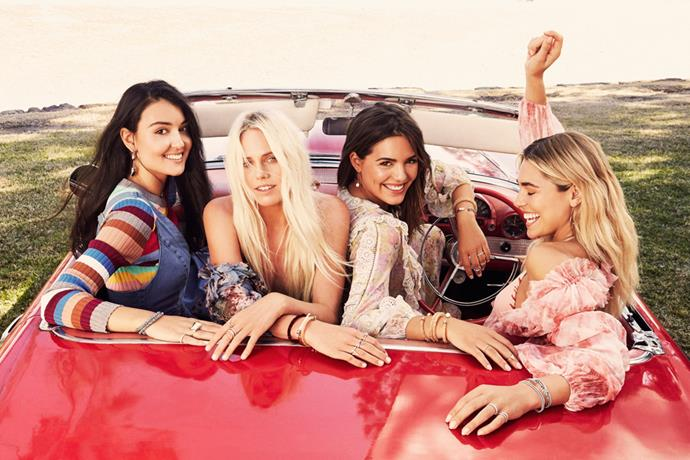 The new squad on the block? The Swarovski #BeBrilliant squad, including (from left) singer songwriter Milan Ring, professional surfer Laura Enever, actress Olympia Valance, and model Ashley Hart. Directed and photographed by Romy Frydman, the #BeBrilliant squad wear pieces from the brand's AW16 collection.