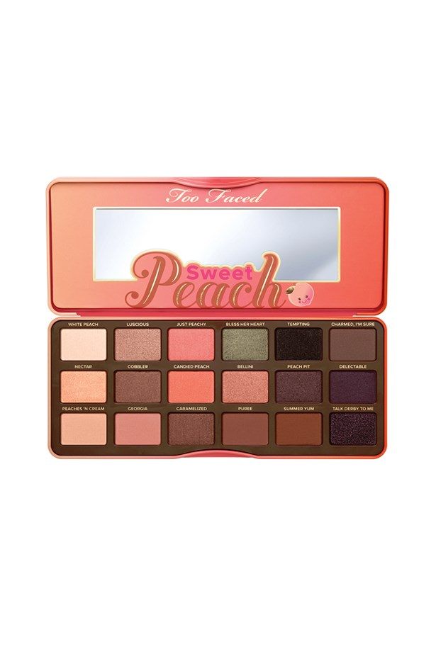 """<P> <a href=""""https://www.toofaced.com/p/eye-shadow-palettes/sweet-peach-eye-shadow-collection/"""">Too Faced Sweet Peach Eyeshadow Collection</a><p> <p> Focusing on warmer tones (and one glittering green), the sweet peach palette is the perfect neutral palette with a bit of shimmer (plus, it smells like fresh peaches!)."""