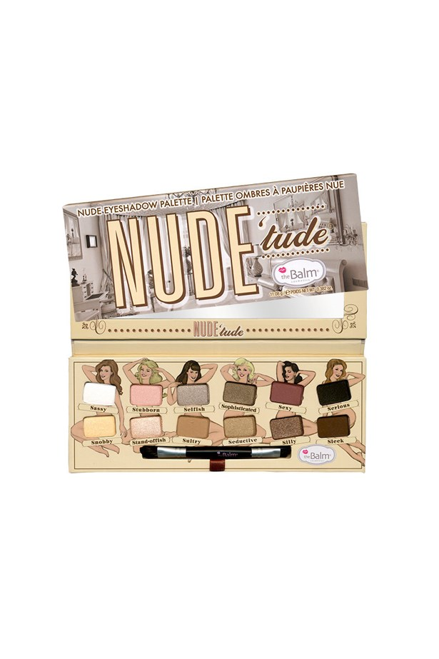 """<p> <a href=""""https://thebalm.com/products/nude-tude-naughty-palette?variant=16601866694"""">theBalm 'NUDE 'tude' Nude Eyeshadow Palette</a><p> <p> Combining golds and silvers with sweet shades like yellow and pink, the 'NUDE 'tude' palette is designed to make 'wearing nudes sexy'."""