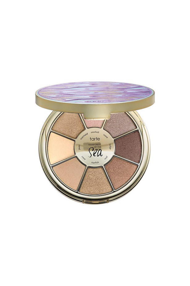 """<p> <a href=""""http://www.sephora.com/rainforest-the-sea-eyeshadow-palette-P405100?skuId=1779057&icid2=products%20grid:p405100"""">Tarte 'Rainforest Of The Sea' Eyeshadow Palette</a><p> <p> Between its sweet round shape, it's sparkly tones and its velvet formula, this one is a sure-fire winner."""