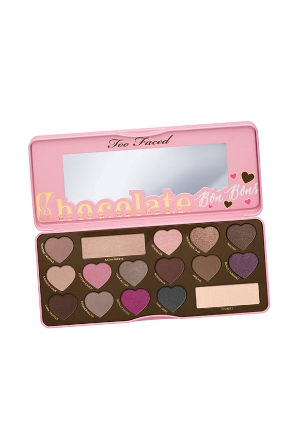 """<p> <a href=""""http://mecca.com.au/too-faced/chocolate-bon-bons-eye-shadow-collection/I-023105.html"""">Too Faced 'Chocolate Bon Bons Eye Shadow Collection'</a><p> <p> Sweet and sultry (and smelling like chocolate), the Bon Bons palette marries neutral browns with bright pinks and deep gem tones."""