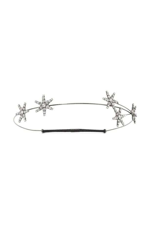 "Headband, $413, <a href=""https://www.net-a-porter.com/au/en/product/758926/jennifer_behr/venus-circlet-gunmetal-plated-swarovski-crystal-headband"">Jennifer Behr at net-a-porter.com</a>."