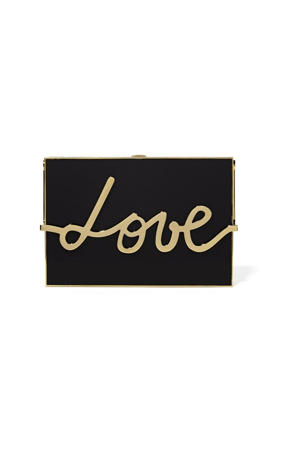 "Clutch, $4,348, <a href=""https://www.net-a-porter.com/au/en/product/651382/lanvin/love-resin-and-gold-tone-box-clutch"">Lanvin at net-a-porter.com</a>."