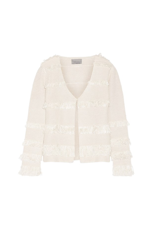"Silk jacket, $1,352, <a href=""https://www.net-a-porter.com/au/en/product/715715/maiyet/fringed-crocheted-silk-jacket"">Maiyet at net-a-porter.com</a>."