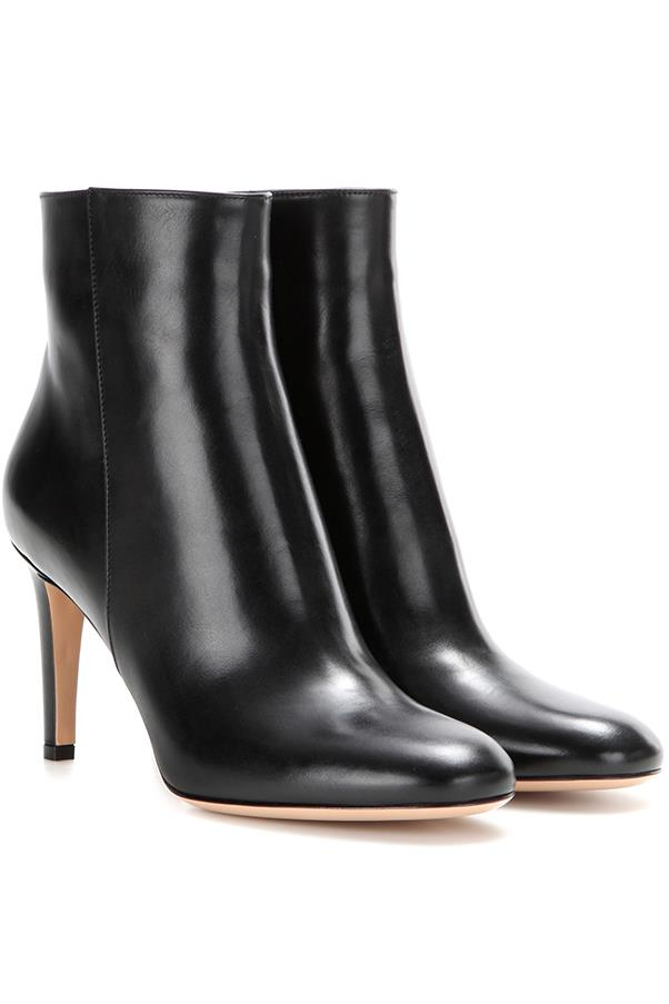 """<strong>Sleek & Shiny Ankle Boots</strong> <br><br> Gianvito Rossi boots, $1,305, <a href=""""http://www.mytheresa.com/en-au/stilo-leather-ankle-boots-603183.html?catref=category"""">mytheresa.com</a>"""