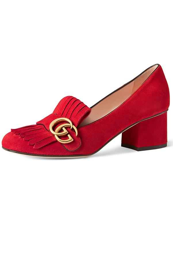 """<strong>Luxe Loafer</strong> <br><br> Gucci loafers, $685, <a href=""""http://www.matchesfashion.com/au/products/Gucci-Marmont-fringed-suede-loafers-1053304"""">matchesfashion.com</a>"""