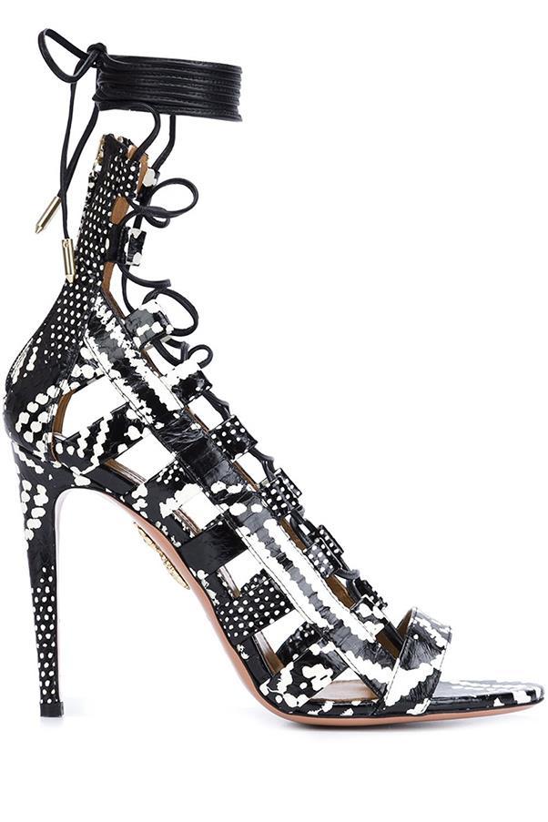 """<strong>Animal Print Heels</strong> <br><br> Aquazzura sandals, $1315, <a href=""""http://www.farfetch.com/au/shopping/women/aquazzura--amazon-sandals-item-11607969.aspx?storeid=9352&from=search&ffref=lp_pic_58_3_&utm_source=skimlinks&utm_medium=referral&utm_campaign=affiliate%20tool%20aus&utm_source=TnL5HPStwNw&utm_medium=affiliate&utm_campaign=Linkshareaus&utm_content=10&utm_term=AUNetwork"""">farfetch.com</a>"""