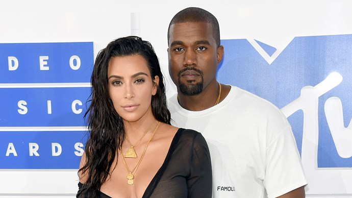 Kim Kardashian and Kanye West at the 2016 VMAs.