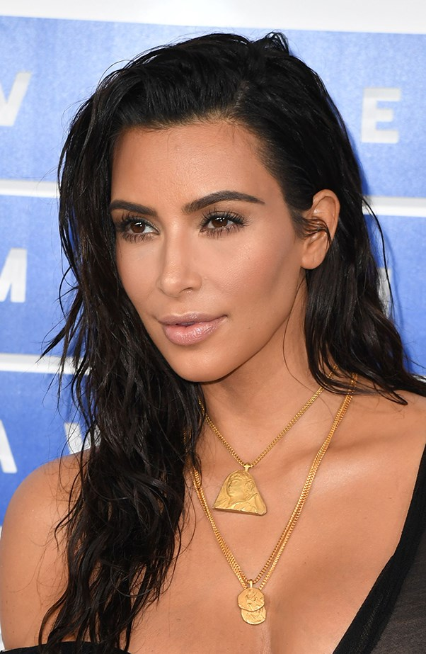 <p>Kim Kardashian opted for a look that's refreshingly natural for the star.