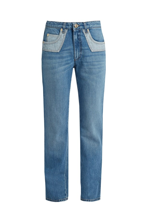 "Jeans, $530, <a href=""http://www.matchesfashion.com/products/Sonia-Rykiel-Bi-colour-pockets-straight-leg-jeans-1058407"">Sonia Rykiel at matchesfashion.com</a>."