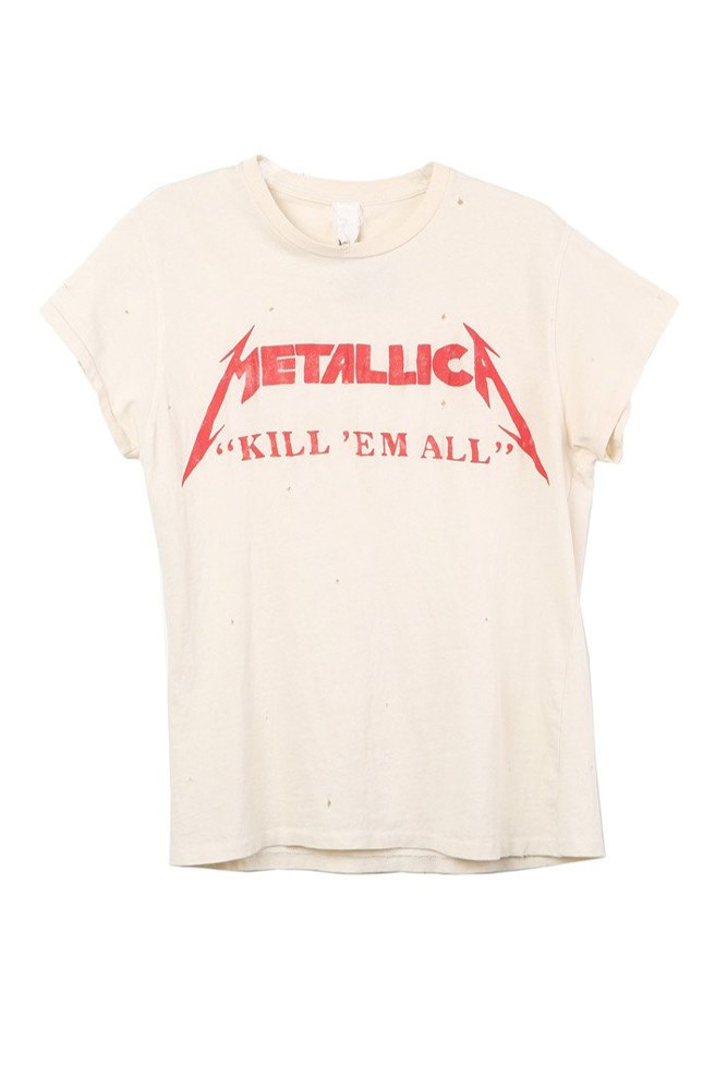 "<a href=""https://shopsuperstreet.com/collections/madeworn/products/metallica-kill-them-all-tee?variant=18624156038"">Metallica T-shirt, approx. $213, Madeworn at shopsuperstreet.com</a>"