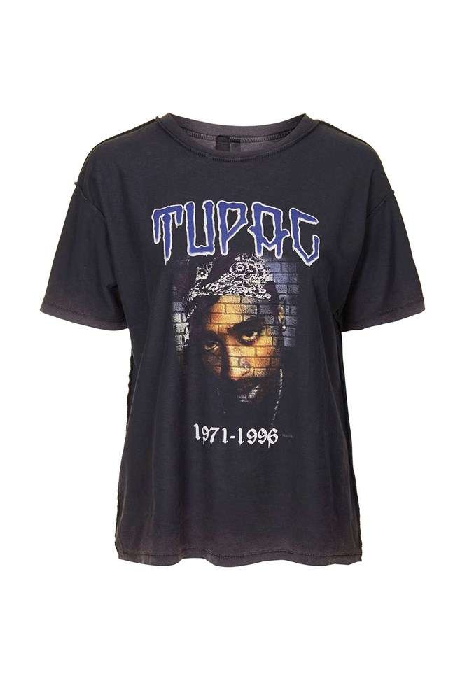 "<a href=""http://www.topshop.com/en/tsuk/product/tupac-tee-by-and-finally-5119390?bi=0&ps=20"">Tupac T-shirt, approx. $44, And Finally at topshop.com</a>"