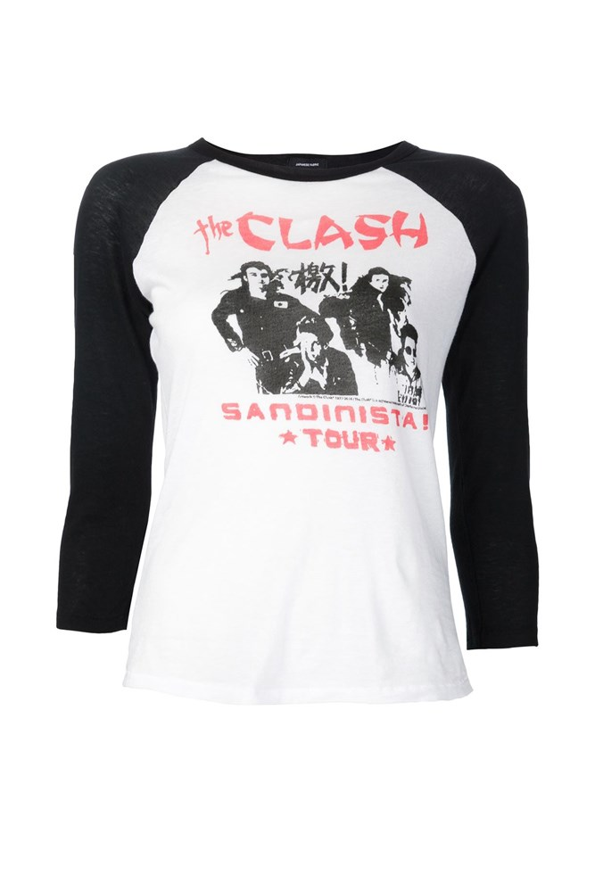 "<a href=""http://www.farfetch.com/au/shopping/women/R13-The-Clash-print-T-shirt-item-11371897.aspx"">The Clash T-shirt, $325, R13 at farfetch.com</a>"