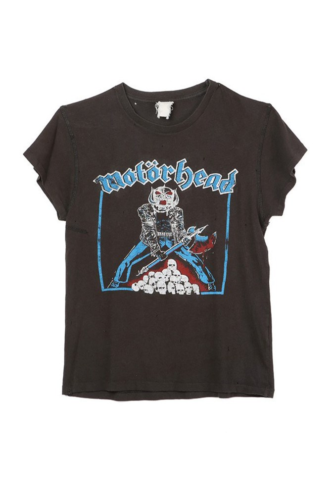 "<a href=""https://shopsuperstreet.com/collections/womens-clothing/products/motorhead-tee?variant=14162807622"">Motorhead T-shirt, approx. $213, Madeworn at shopsuperstreet.com</a>"