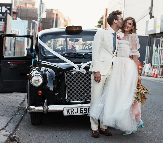 Model Agyness Deyn married Joel McAndrew in a pink and white tulle gown.