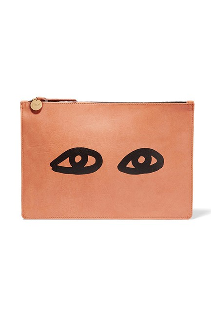 """<strong>A playful clutch.</strong> <br><br>The ultimate sidekick (after you, of course). <br><br>Clutch, $258, <a href=""""https://www.net-a-porter.com/au/en/product/744365/clare_v/margot-printed-leather-clutch"""">Clare V at net-a-porter.com</a>"""