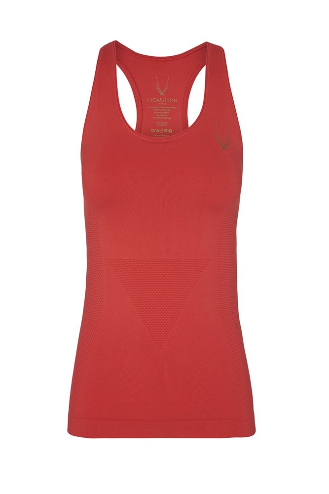 """<a href=""""https://www.modesportif.com/shop/product/lucas-hugh-technical-knit-fitted-tank-in-red/"""">Tank, $135, Lucas Hugh at modesportif.com</a>"""