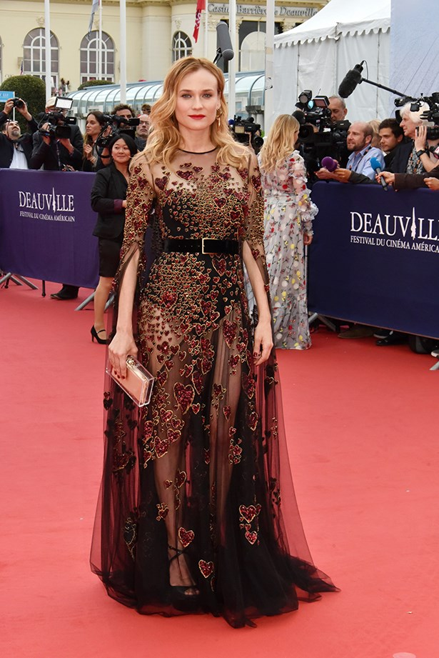 Diane wore Elie Saab to the premiere of The Infiltrator.