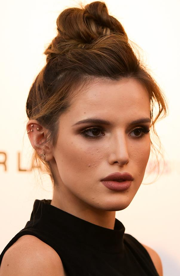 "<p>Bella Thorne has a triple flat special, pierced by <a href=""https://www.instagram.com/p/BA3M-zRSELx/?taken-by=bodyelectrictattoo"" target=""_blank"">Brian Keith Thompson</a>."