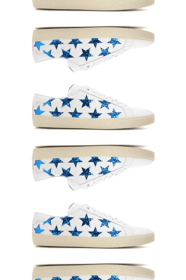"Sneakers, $760, <a href=""http://www.mytheresa.com/en-au/embellished-leather-sneakers-661443.html?catref=category"">Saint Laurent at mytheresa.com</a>."
