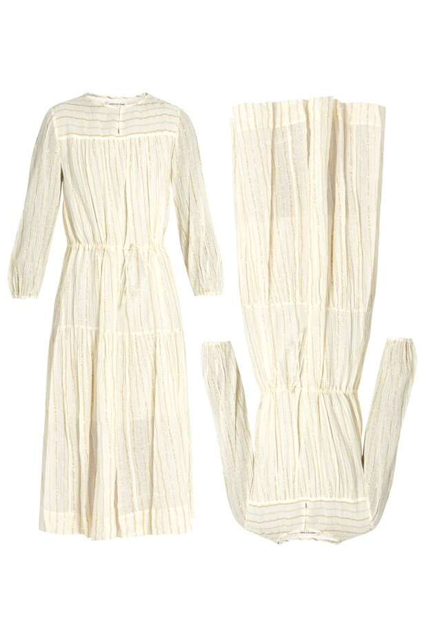 "Dress, $510, <a href=""http://www.matchesfashion.com/au/products/Isabel-Marant-%C3%89toile-Cotton-blend-striped-dress-1059589"">Isabel Marant Étoile at matchesfashion.com</a>."