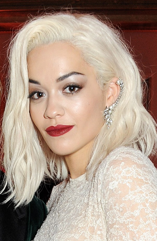 <p>Rita Ora's hair has been through many blonde iterations. This shot is from November 2013.