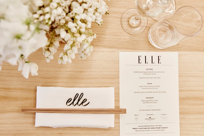 """The table is set. Flowers by <a href=""""http://hermeticaflowers.com.au/"""">Hermetica Flowers</a>, namecards by <a href=""""http://www.lettersfrombelle.com/"""">Letters From Belle</a>, table (and chairs) from <a href=""""http://timbermill.com.au/rentals/"""">Timbermill Furniture + Prop Rentals</a>."""