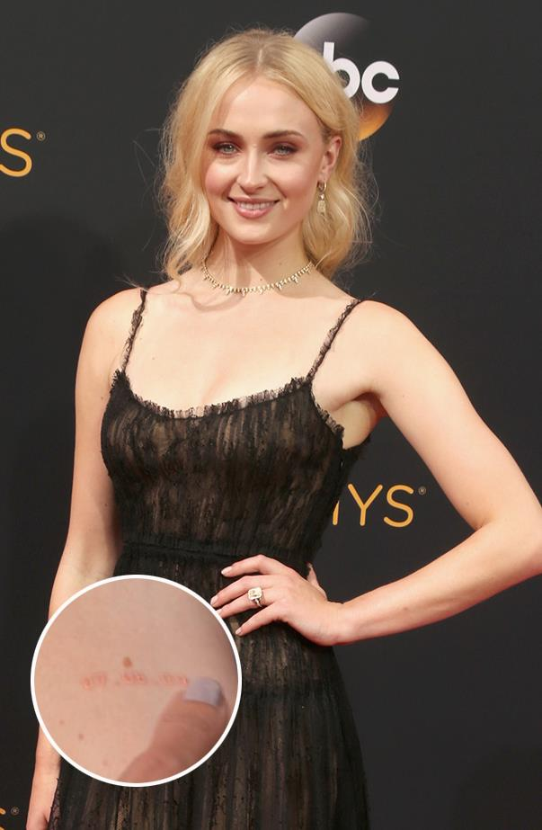 "Sophie Turner and her <em>Game of Thrones</em> co-star/best friend Maisie Williams have <a href=""https://twitter.com/EW/status/777641794049871872"" target=""_blank"">matching date tattoos</a>, and Sophie <a href=""http://www.eonline.com/news/795519/sophie-turner-crushes-on-jerry-seinfeld-dishes-details-about-her-matching-tattoo-with-maisie-williams"" target=""_blank"">revealed the significance</a> of the numbers to Giuliana Rancic on the Emmys red carpet: ""That's the date that we both heard that we got <em>Game of Thrones</em> on... We always kind of said we want matching [tattoos]. The date was always really significant... and then with <em>Thrones</em> we were always planning from season one, like if we make it all the way through, hopefully we could all get a matching thing."""