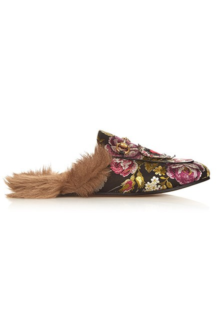 """Flats to hide away in your bag. <br><br>Loafers, $848, <a href=""""http://www.matchesfashion.com/au/products/Gucci-Princetown-fur-lined-floral-brocade-loafers-1053294"""">Gucci at matchesfashion.com</a>"""