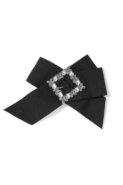 "A hair bow fit for the races. <br><br>Hair clip, $1,150, <a href=""https://www.net-a-porter.com/au/en/product/753525/dolce___gabbana/swarovski-crystal-embellished-grosgrain-hair-clip"">Dolce & Gabbana at net-a-porter.com</a>"