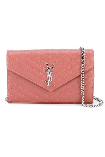 "Rose pink tones are always chic for spring. <br><br>Chain wallet, $1,934, <a href=""https://www.farfetch.com/au/shopping/women/saint-laurent--monogram-crossbody-bag-item-11418006.aspx?storeid=9359&from=listing&tglmdl=1&ffref=lp_pic_247_8_"">Saint Laurent at farfetch.com </a>"