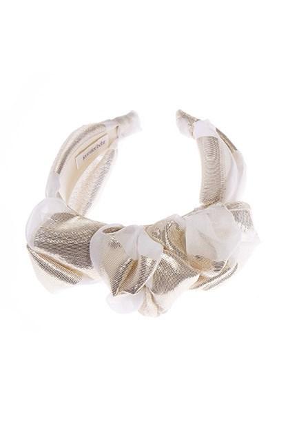 "A mixed metallics headband is the fastest way to up your spring racing style game. <br><br>Headband, US$225, <a href=""http://www.jenniferbehr.com/headband/three-knot-headband.html"">Jennifer Behr</a>"