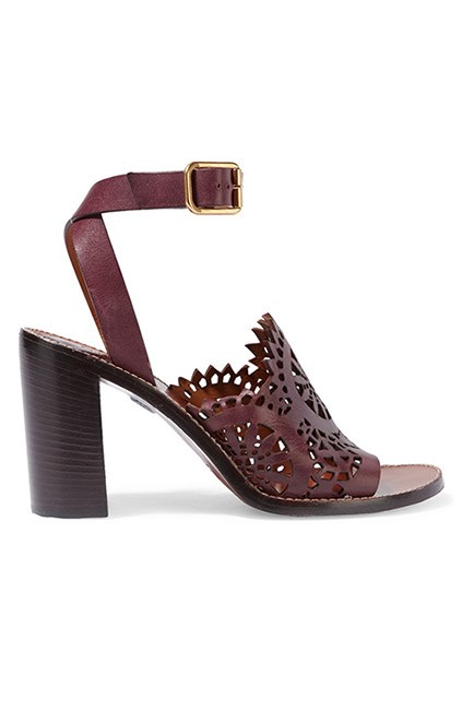 """Steer clear of stilettos and go for a block heel instead. They're way more grass-friendly. <br><br>Sandals, $1,300, <a href=""""https://www.net-a-porter.com/au/en/product/715418/chloe/laser-cut-leather-sandals"""">Chloé at net-a-porter.com</a>"""