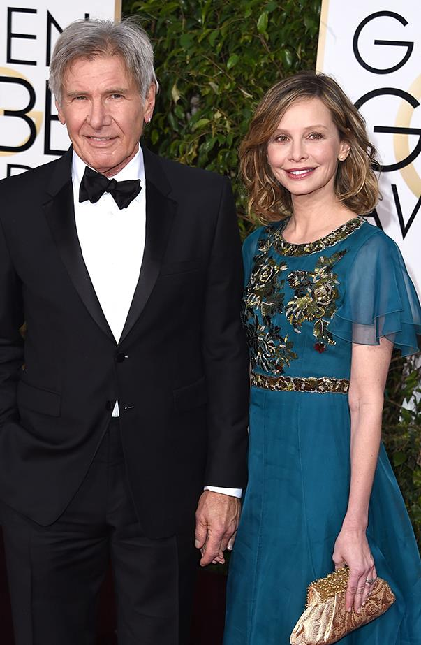 <p><strong>Harrison Ford and Calista Flockhart</strong><br><br>Ford and Flockhart first got together after meeting at the Golden Globes in 2002. Falling in love, the couple were married in 2010 and have since adopted a son, Liam, together.