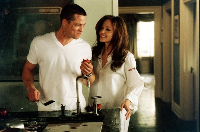 <p><strong>2004 </strong> <p>Filming <em>Mr. and Mrs. Smith</em>