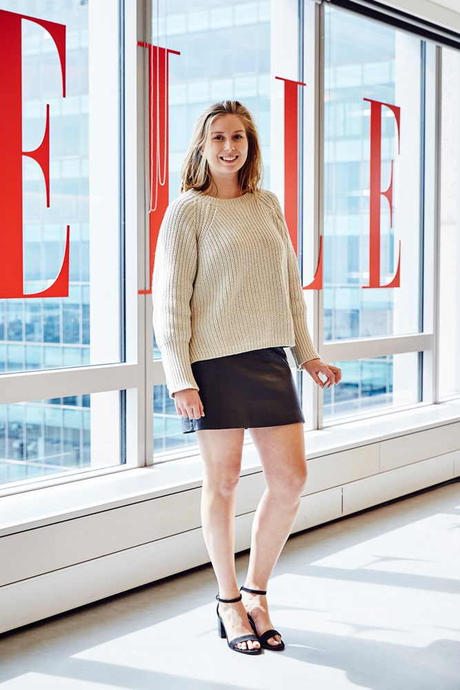 Editorial coordinator Amber Elias in a Bassike jumper, vintage skirt and Zara shoes.