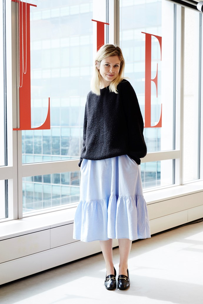 Features and culture editor Laura Collins in a Zara dress, A.P.C. jumper and shoes from Debenhams.